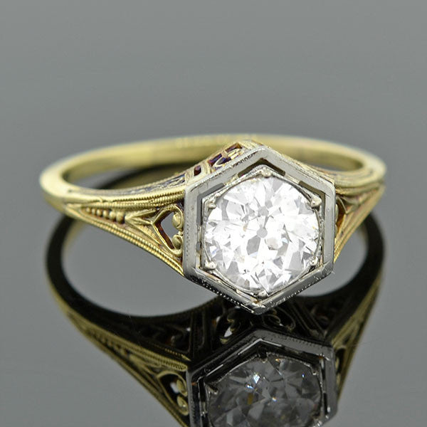 Edwardian Mixed Metals Diamond Engagement Ring 1.03ct