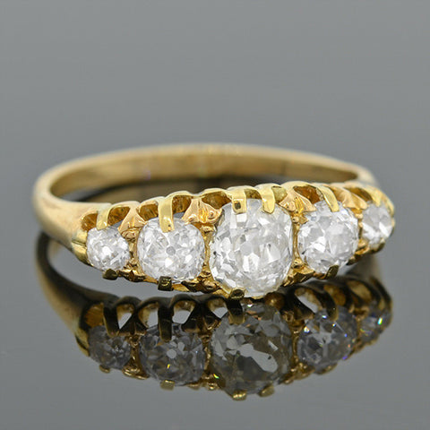 Victorian 18kt & Diamond 5-Stone Ring 1.50ctw