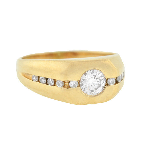 Estate 14kt Yellow Gold & Diamond Ring .60ct center