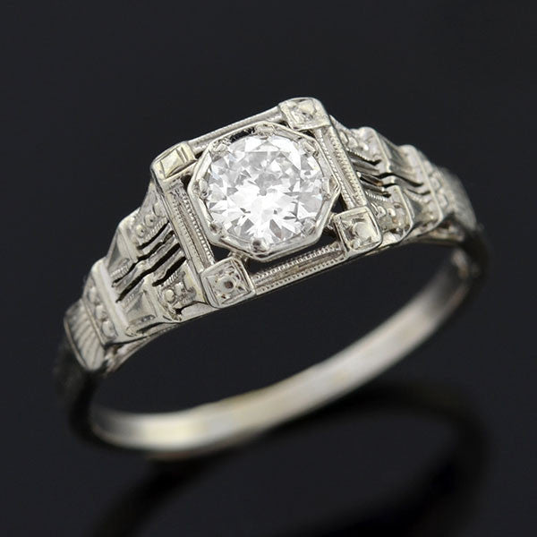 Art Deco 18kt White Gold & Diamond Engagement Ring .36ct