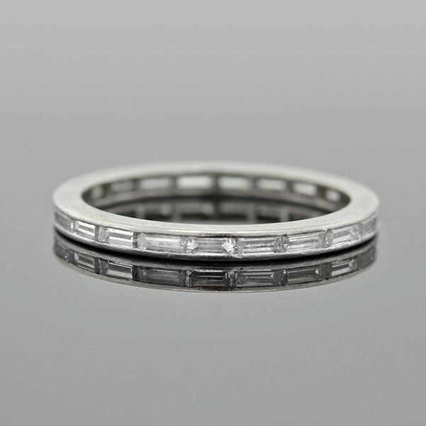 Art Deco Platinum Baguette Diamond Eternity Band