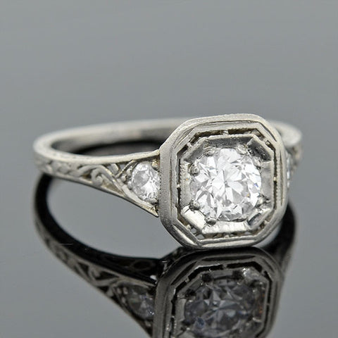 Edwardian Platinum & Diamond Engagement Ring .55ct