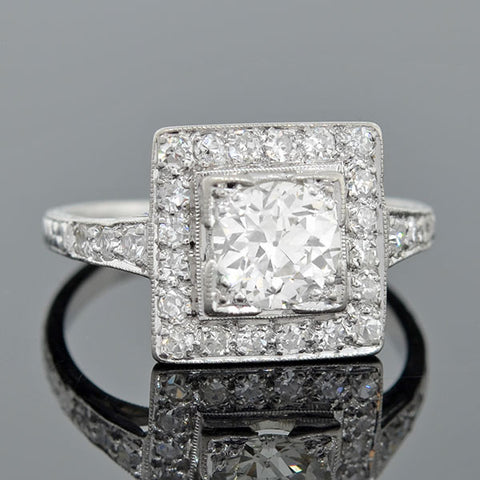 Edwardian Platinum & Diamond Square Halo Engagement Ring .86ct