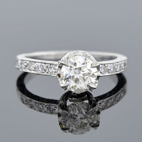 Deco Style Platinum Diamond Engagement Ring 0.90ct
