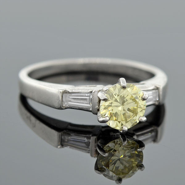 Retro Platinum & Diamond Engagement Ring .73ct