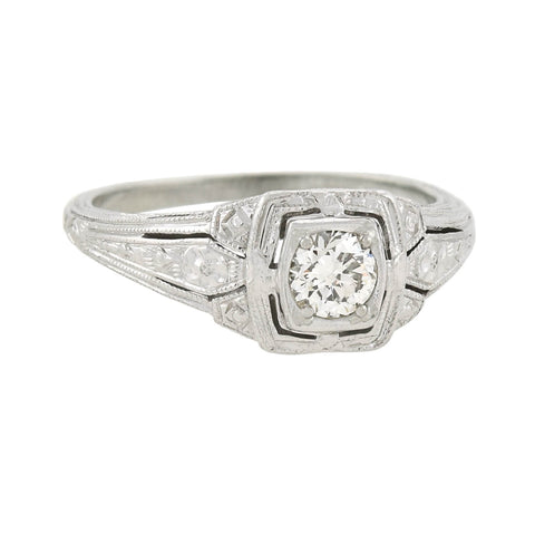 Art Deco 18kt Diamond Filigree Engagement Ring 0.30ct