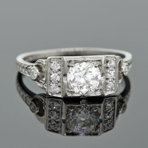Art Deco Platinum & Diamond Engagement Ring .60ct