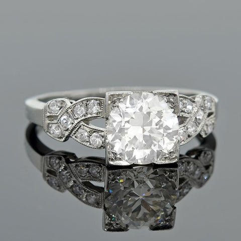 Art Deco Platinum & Diamond Engagement Ring 1.20ct