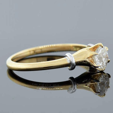 Victorian 14kt & Sterling Diamond Engagement Ring 0.57ct