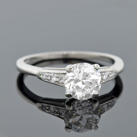 Art Deco Platinum & Diamond Engagement Ring 1.12ct
