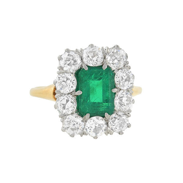 Late Victorian 14kt Platinum Emerald & Diamond Ring 1.57ct