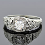 Art Deco 18kt Diamond Engagement Ring 0.48ct