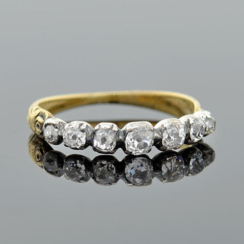 Georgian Mixed Metals 7-Stone Diamond Ring .75ctw