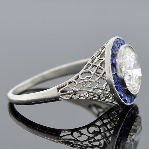 Edwardian Diamond & Sapphire Filigree Ring 2.06ct