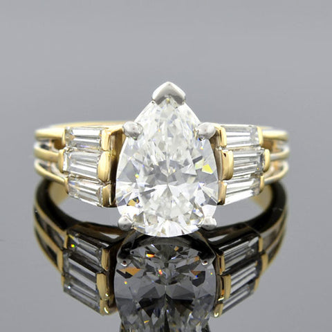 Estate 14kt & Platinum Pear Cut Diamond Ring 1.98ct