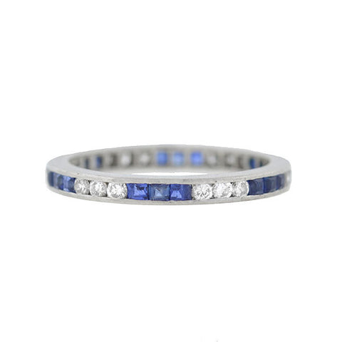 Retro Platinum French Cut Sapphires & Diamond Band