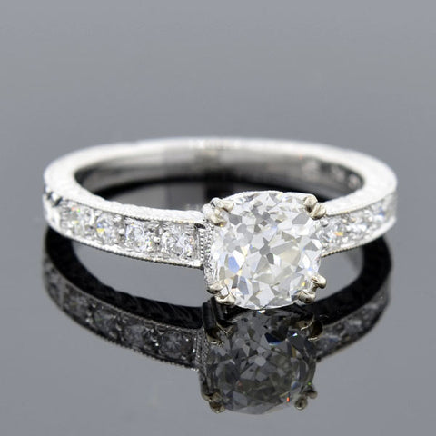 Art Deco Style 18kt Diamond Engagement Ring 1.23ct