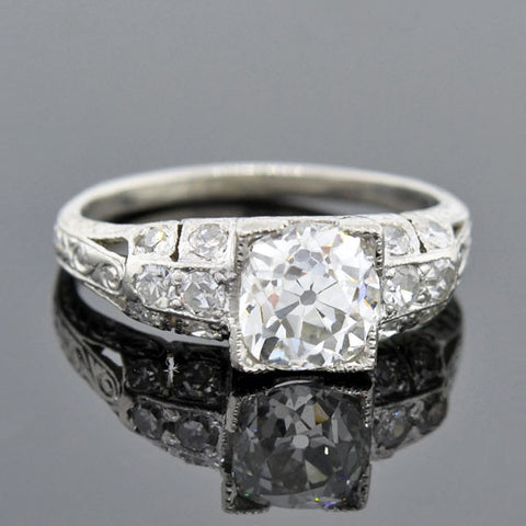 Art Deco Platinum Diamond Engagement Ring 1.23ct