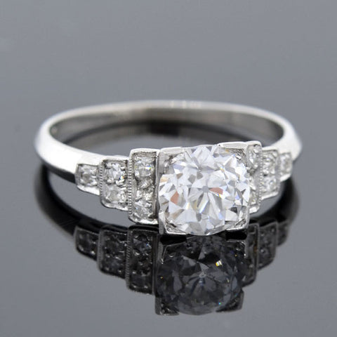 Art Deco Platinum Diamond Step Up Engage Ring 1.01ct