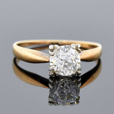 Edwardian 14kt Mixed Metals Diamond Engage Ring 1.25ct