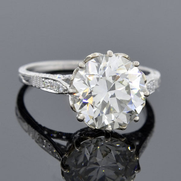 Art Deco Style 18kt Diamond Engagement Ring 3.78ct