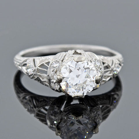 Art Deco Platinum Diamond Engagement Ring 0.98ct