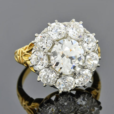 Edwardian 18kt & Platinum Diamond Ring 5.30ctw