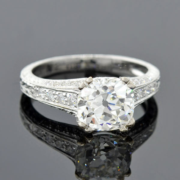 Art Deco Style 18kt Diamond Engagement Ring 2.20ct