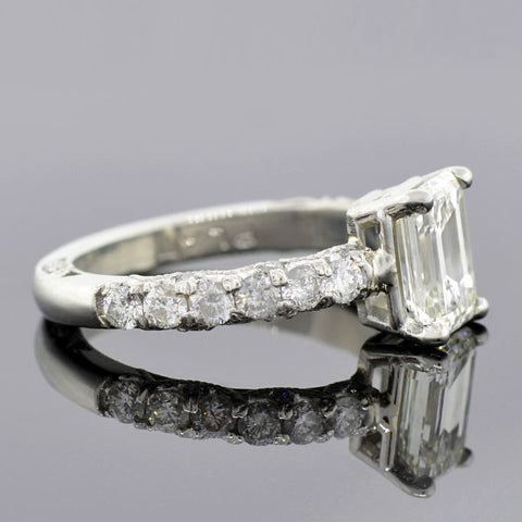 Estate Platinum & Emerald Cut Diamond Ring 1.60ct