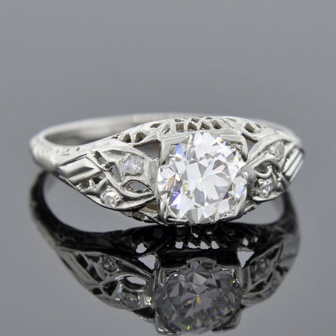 Art Deco 18kt Diamond Engagement Ring 1.04ct
