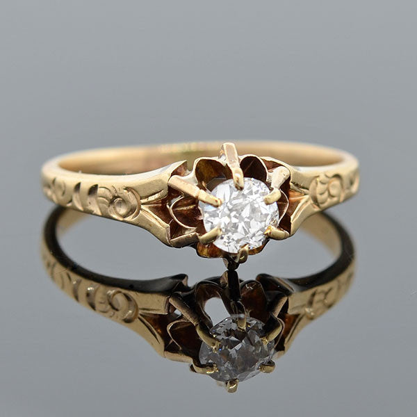 Victorian 14kt Old Mine Cut Diamond Engage Ring .40ct