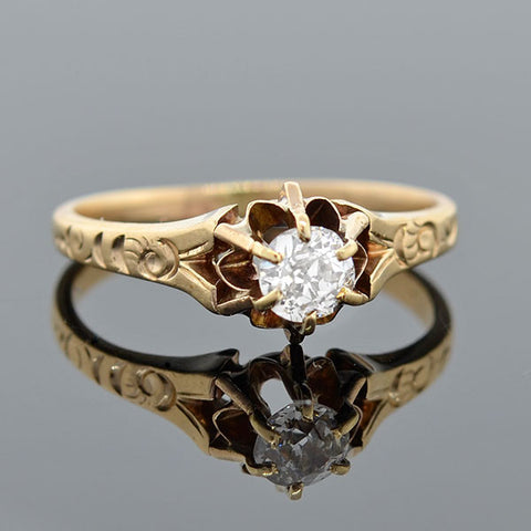 Victorian 14kt Mine Cut Diamond Solitaire Engagement Ring .40ct