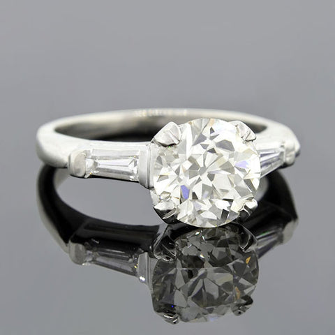 Retro Platinum Diamond Engagement Ring 2.25ct