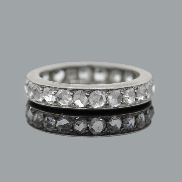 Edwardian Platinum & 2+ Carat Rose Cut Diamond Band