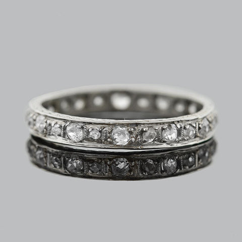 Art Deco 18kt Mine Cut Diamond Eternity Band