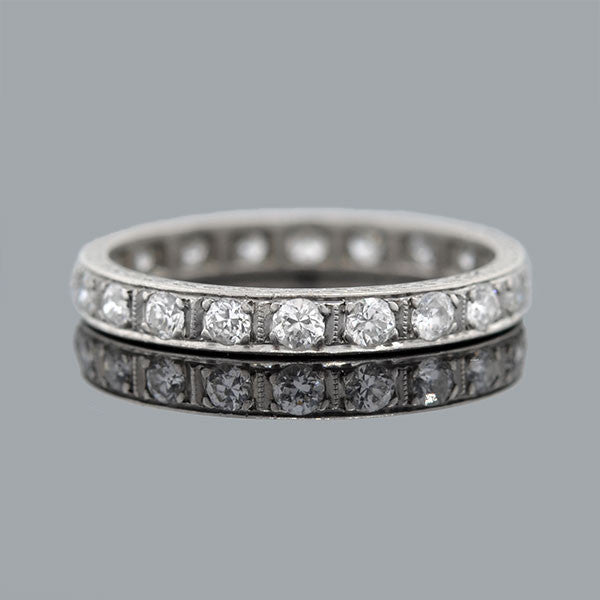 Art Deco Platinum & Diamond Engraved Eternity Band