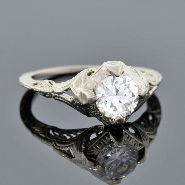 Art Deco 18kt Diamond Engagement Ring 0.88ct