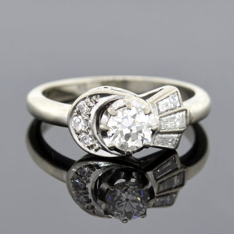 Early Retro 18kt Moon & Star Diamond Engagement Ring .40ct