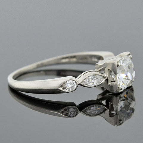 Art Deco Platinum Diamond Engagement Ring 0.80ct