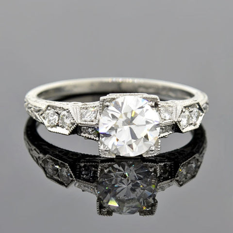 Late Art Deco Platinum Diamond Engage Ring 1.25ct