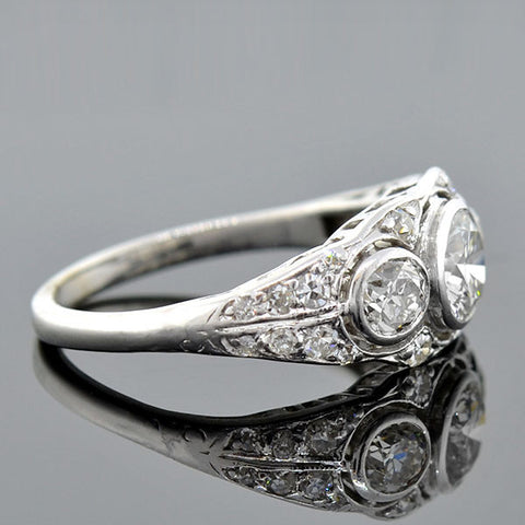 Edwardian Platinum 3-Stone Diamond Ring 1.35ctw