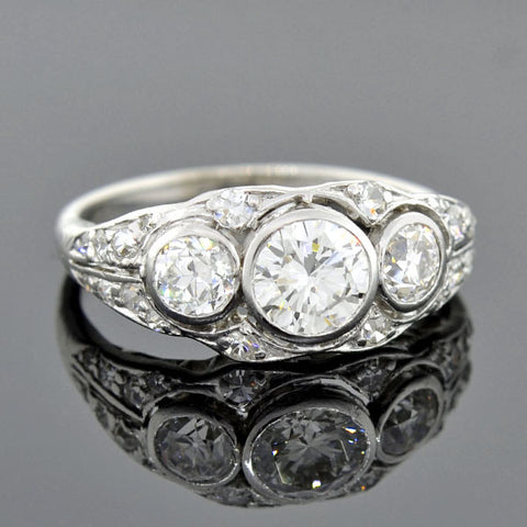 Edwardian Platinum 3-Stone Diamond Ring 1.25ctw