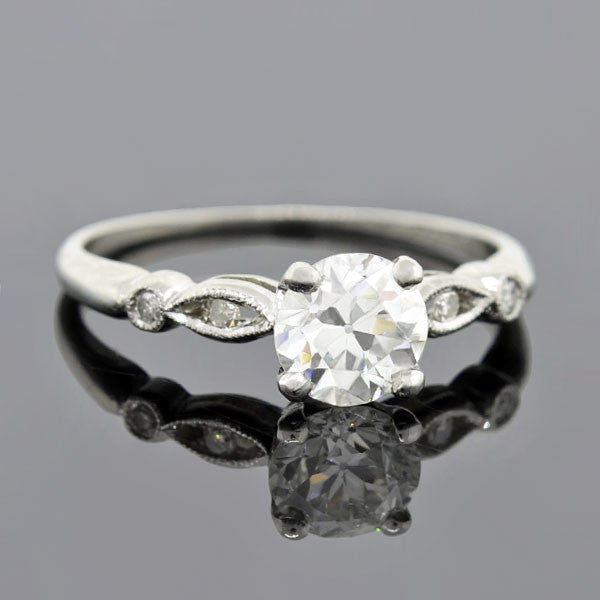 Late Art Deco Platinum Diamond Engage Ring 0.86ct