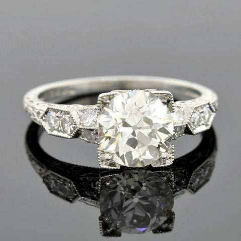 Art Deco Style Platinum Diamond Engage Ring 1.78ct