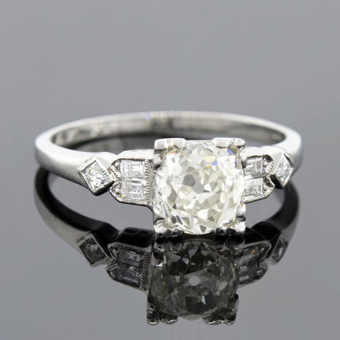 Retro Platinum Diamond Engagement Ring 1.25ct