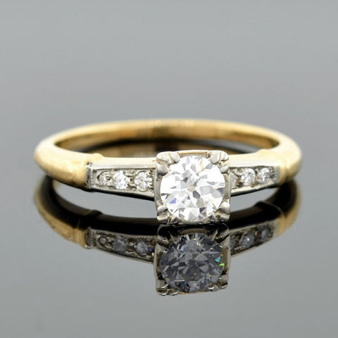 Retro Mixed Metals Diamond Engage Ring 0.55ctw