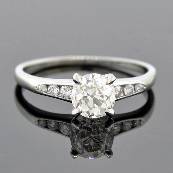 Retro Platinum Diamond Engagement Ring 1.25ct.