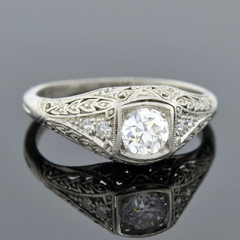 Art Deco Platinum Diamond Engagement Ring 0.35ct