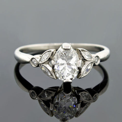 Late Art Deco Platinum Diamond Engage Ring 0.66ct