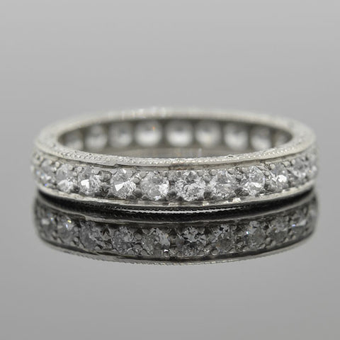 Art Deco Platinum Diamond Eternity Band 1ctw